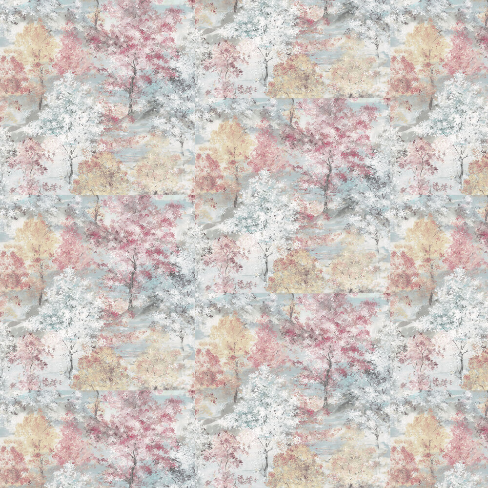 Forest Wallpaper - Pink / Aqua / Beige / White - by Galerie