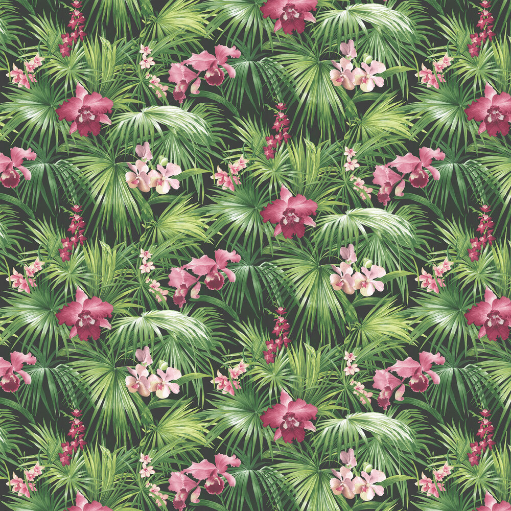 Tropical Wallpaper - Pink / Green / Black - by Galerie