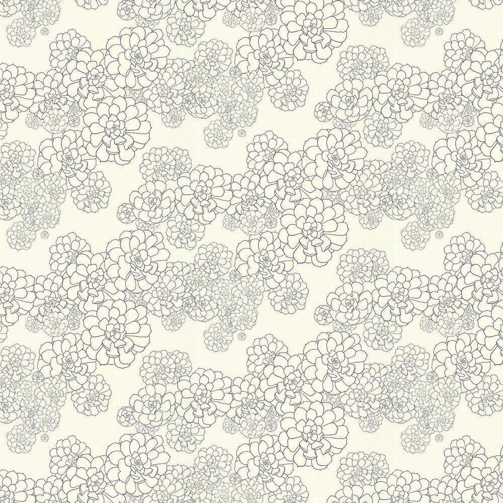 Aeonium Wallpaper - White - by Paint & Paper Library