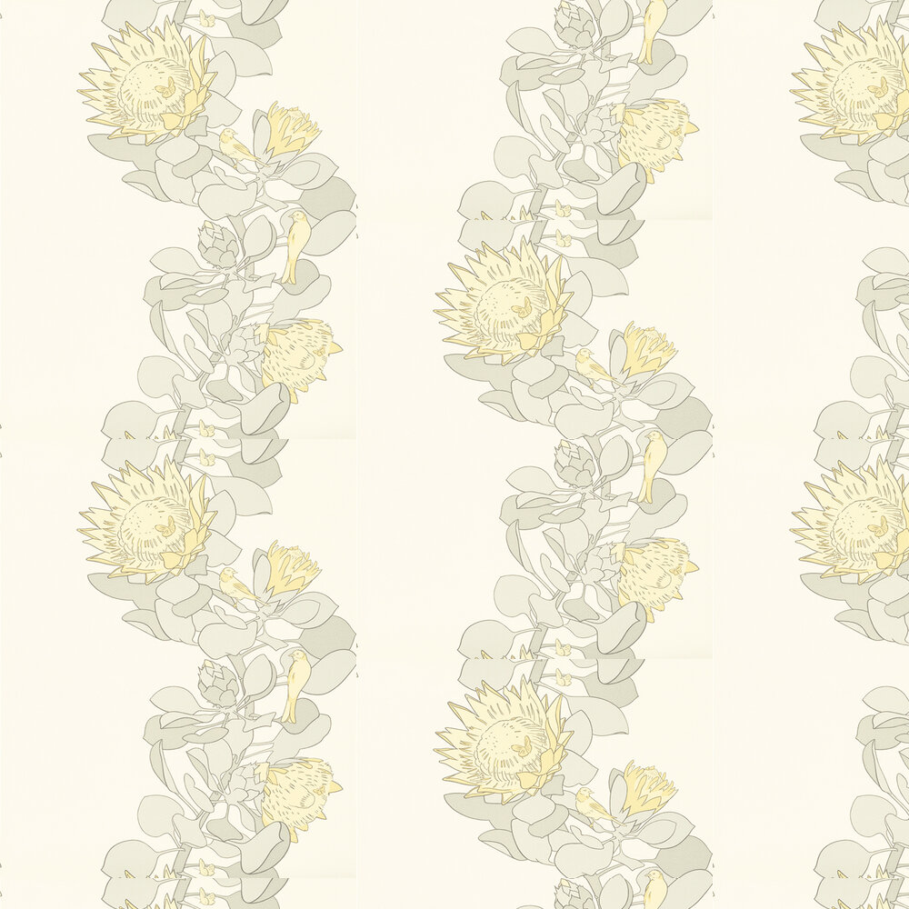 Protea Trail Wallpaper - Clay / Yellow / Grey - by Paint & Paper Library