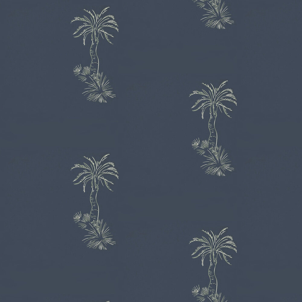 Lighthouse Palm Wallpaper - Blue Pearl - by Paint & Paper Library