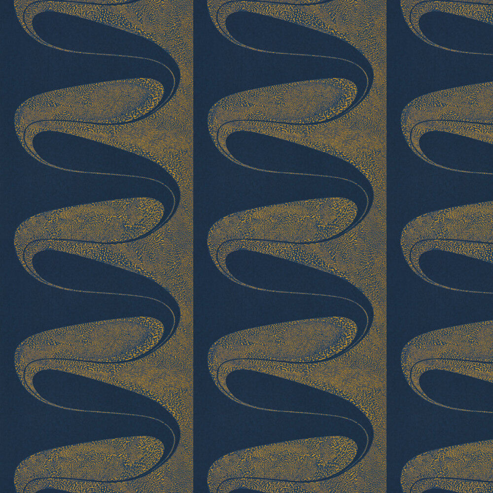 D'Arcy Wallpaper - Ink / Gold - by Zoffany