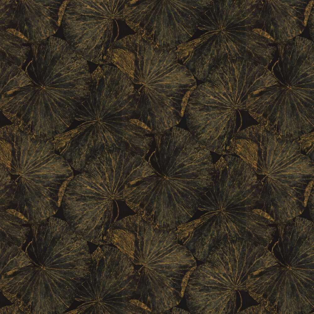 Taisho Deco Wallpaper - Vine Black - by Zoffany