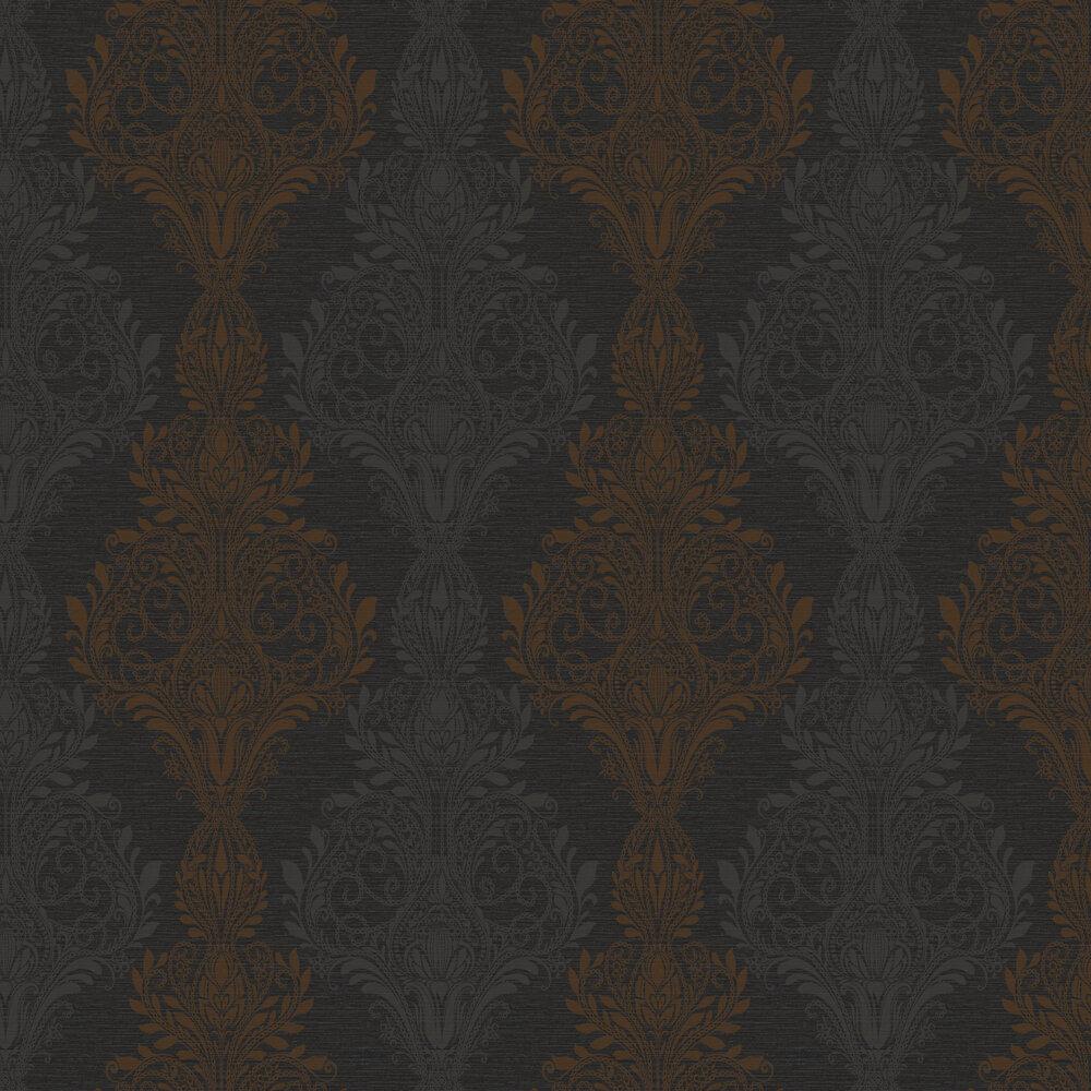 Sloane Damask Wallpaper - Black / Brown - by SketchTwenty 3