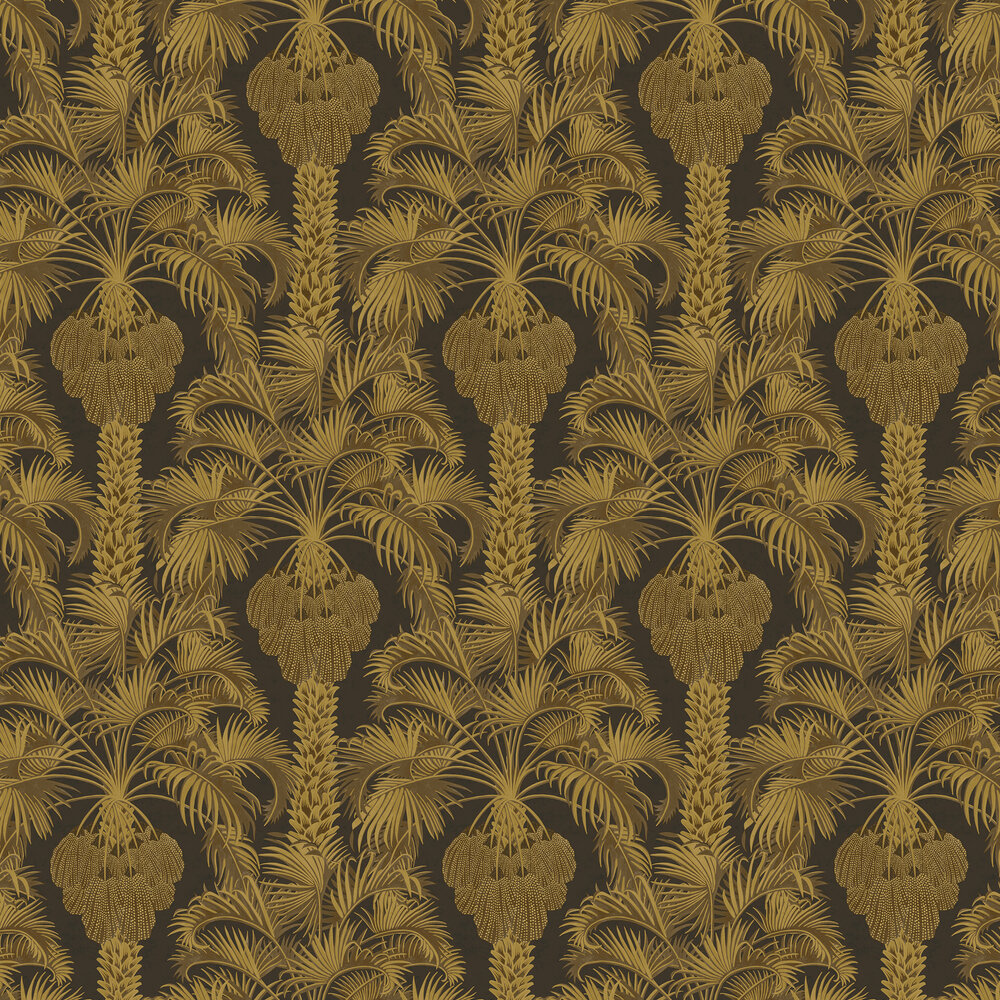 Hollywood Palm Wallpaper - Charcoal / Gold - by Cole & Son