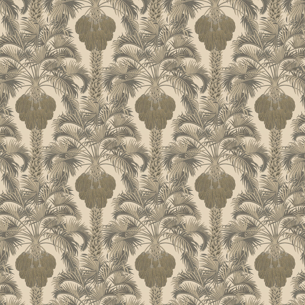 Hollywood Palm Wallpaper - Silver / Charcoal - by Cole & Son