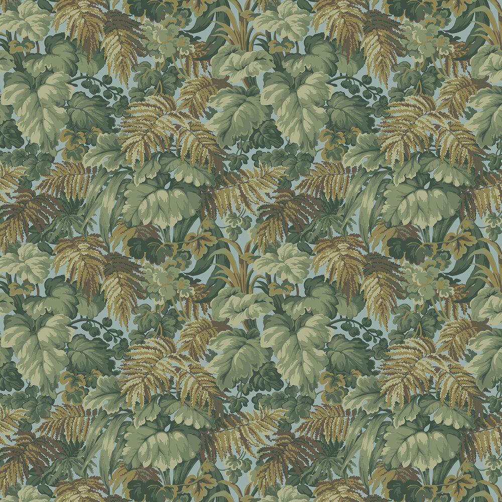 Royal Fernery Wallpaper - Khaki / Print Room Blue - by Cole & Son