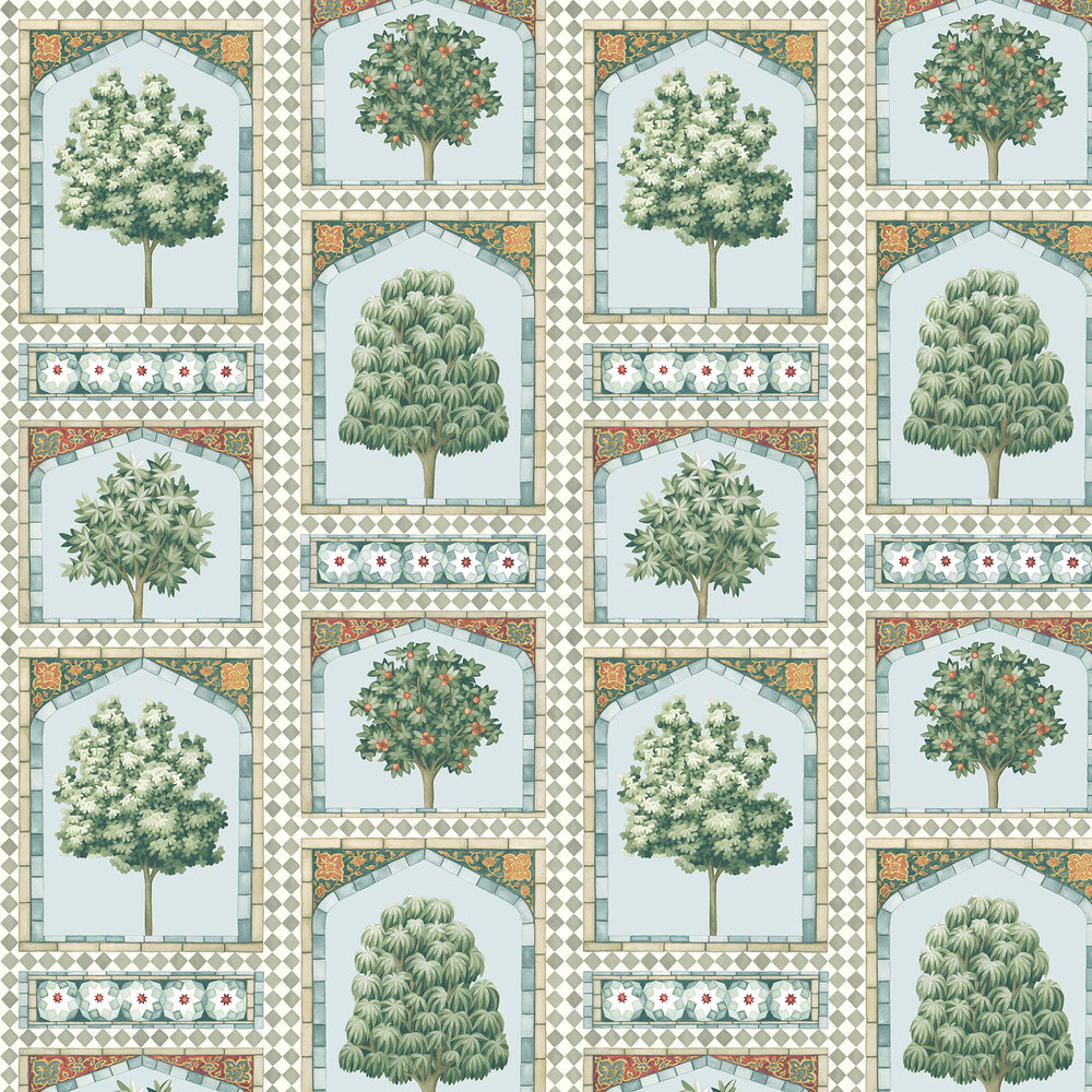 Cole & Son Sultans Palace Print Room Blue / Duck Egg Wallpaper - Product code: 113/10030