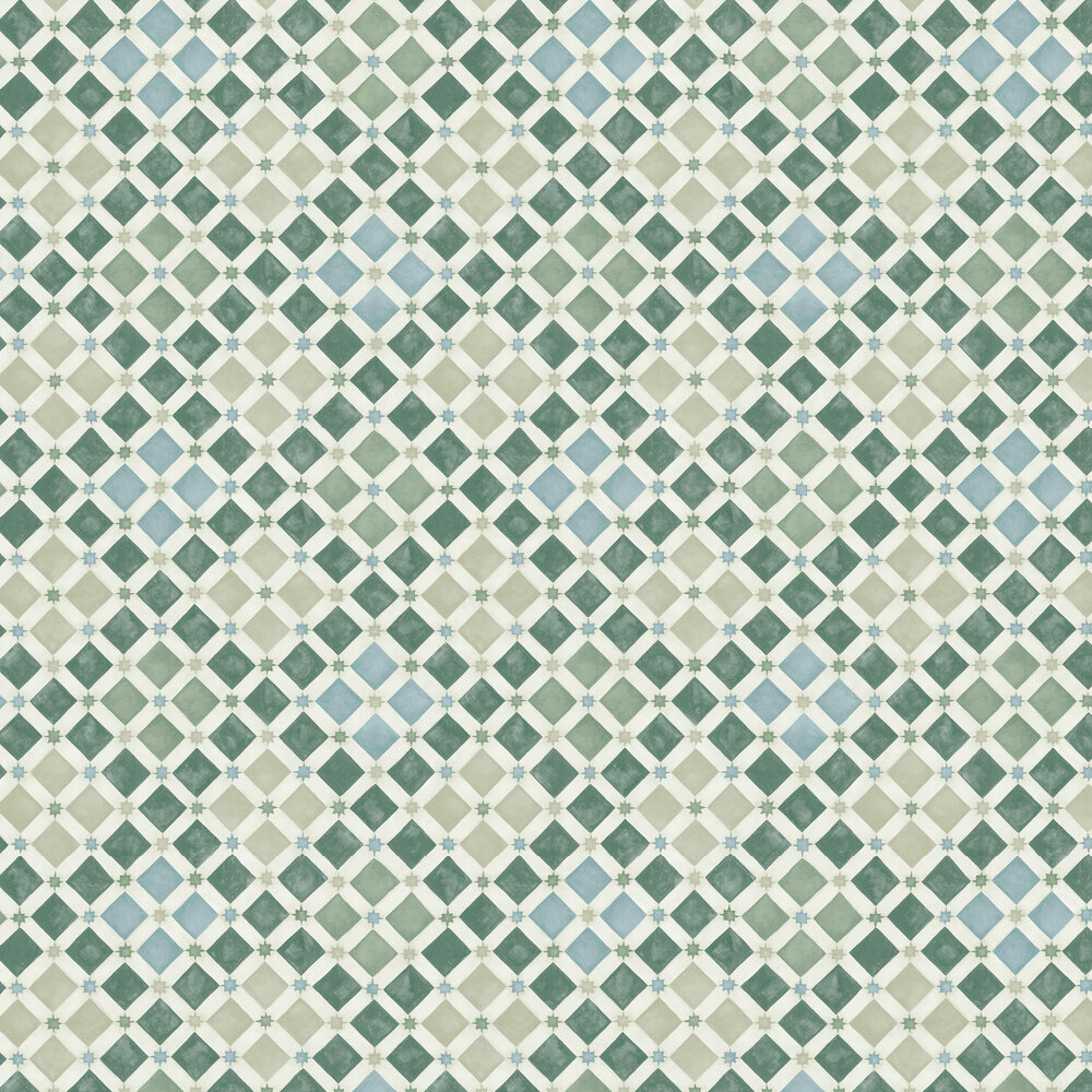 Cole & Son Zellige Olive / Print Room Blue Wallpaper - Product code: 113/11033