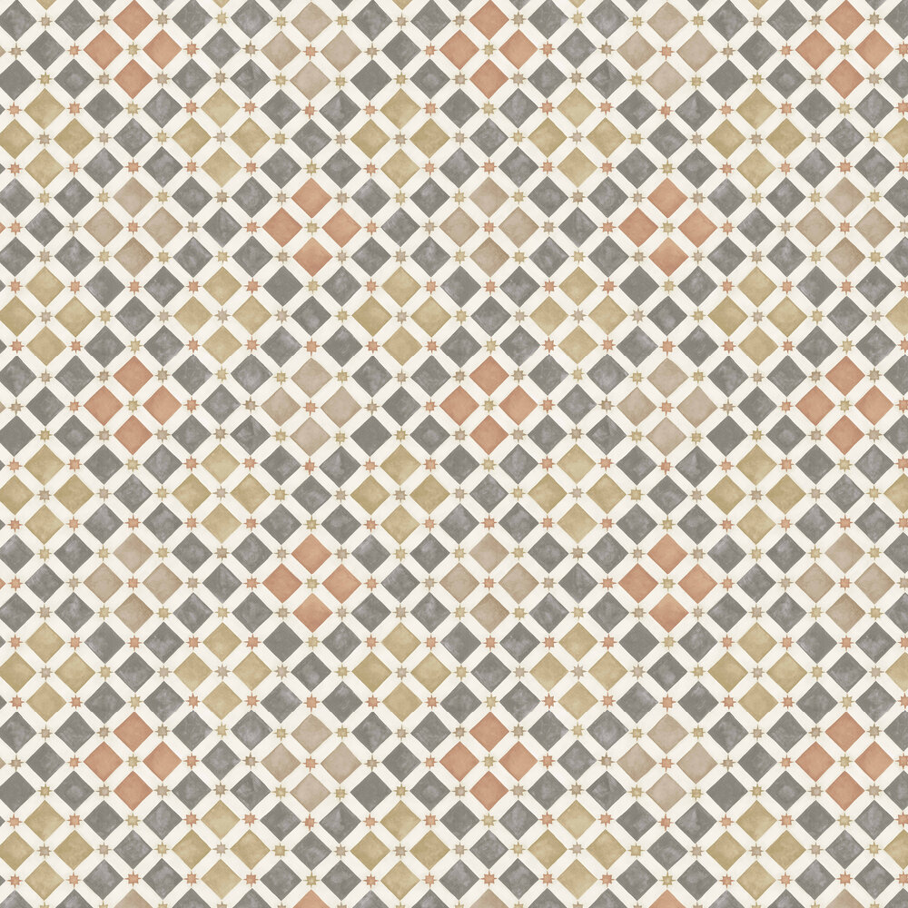 Zellige Wallpaper - Spice / Charcoal - by Cole & Son