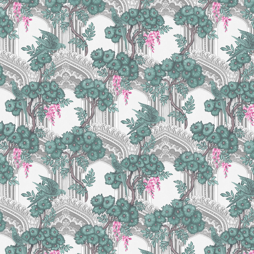 Babylon Wallpaper - Teal / Pink - by Cole & Son