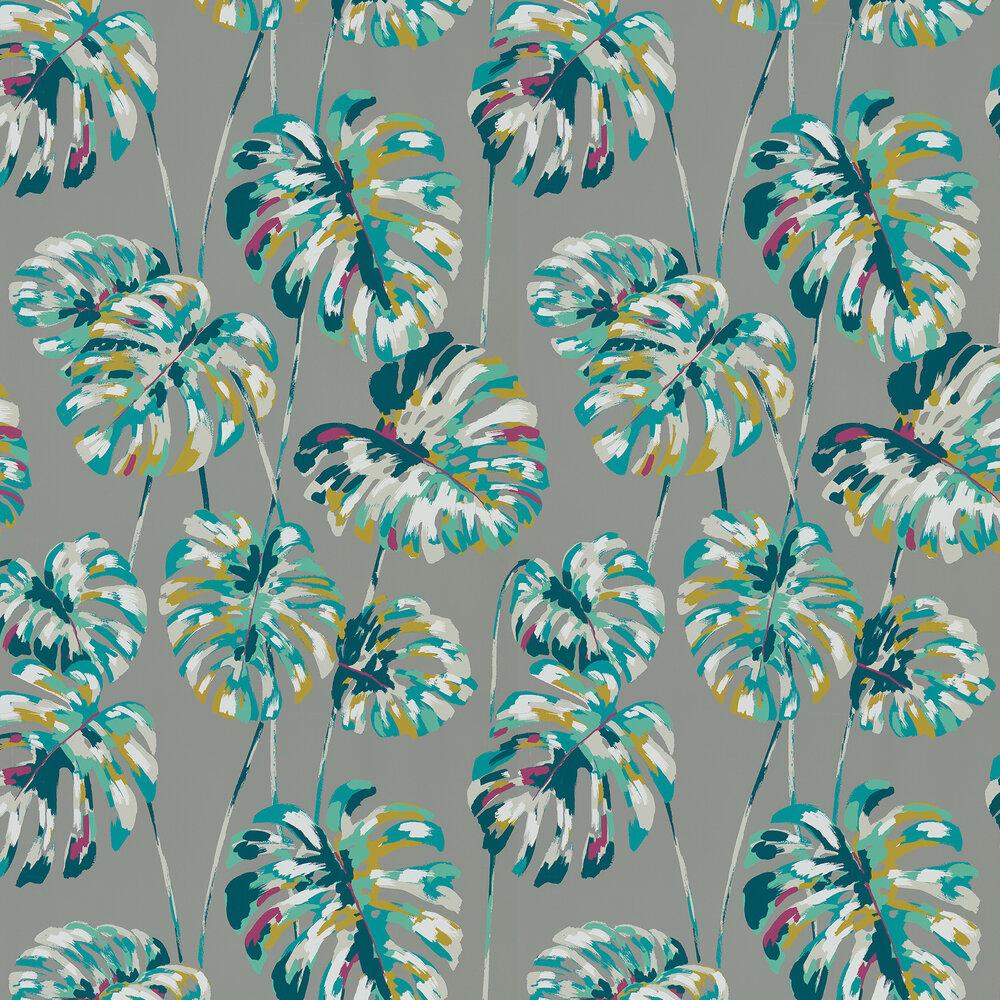 Kelapa Wallpaper - Lagoon / Cerise - by Harlequin