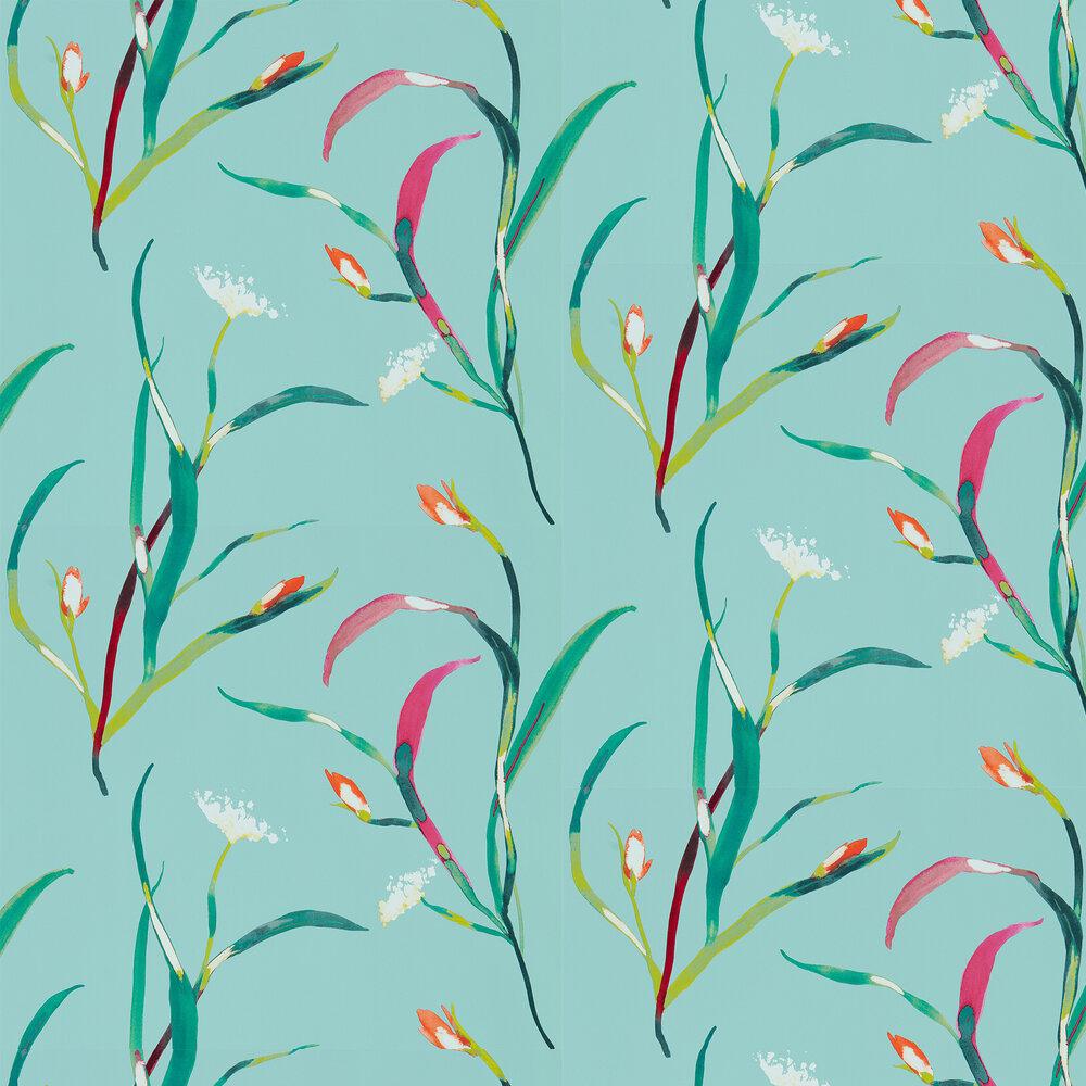 Saona Wallpaper - Lagoon / Zest - by Harlequin