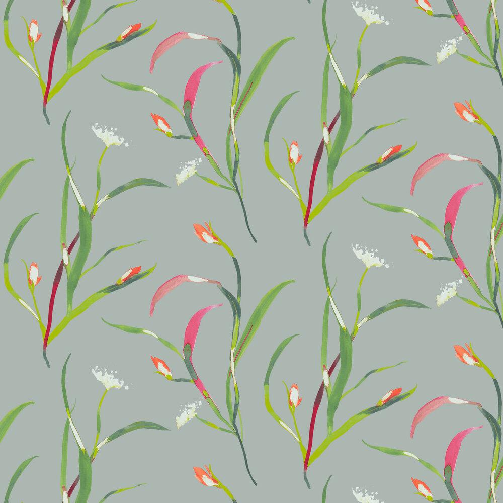 Saona Wallpaper - Papaya / Silver - by Harlequin