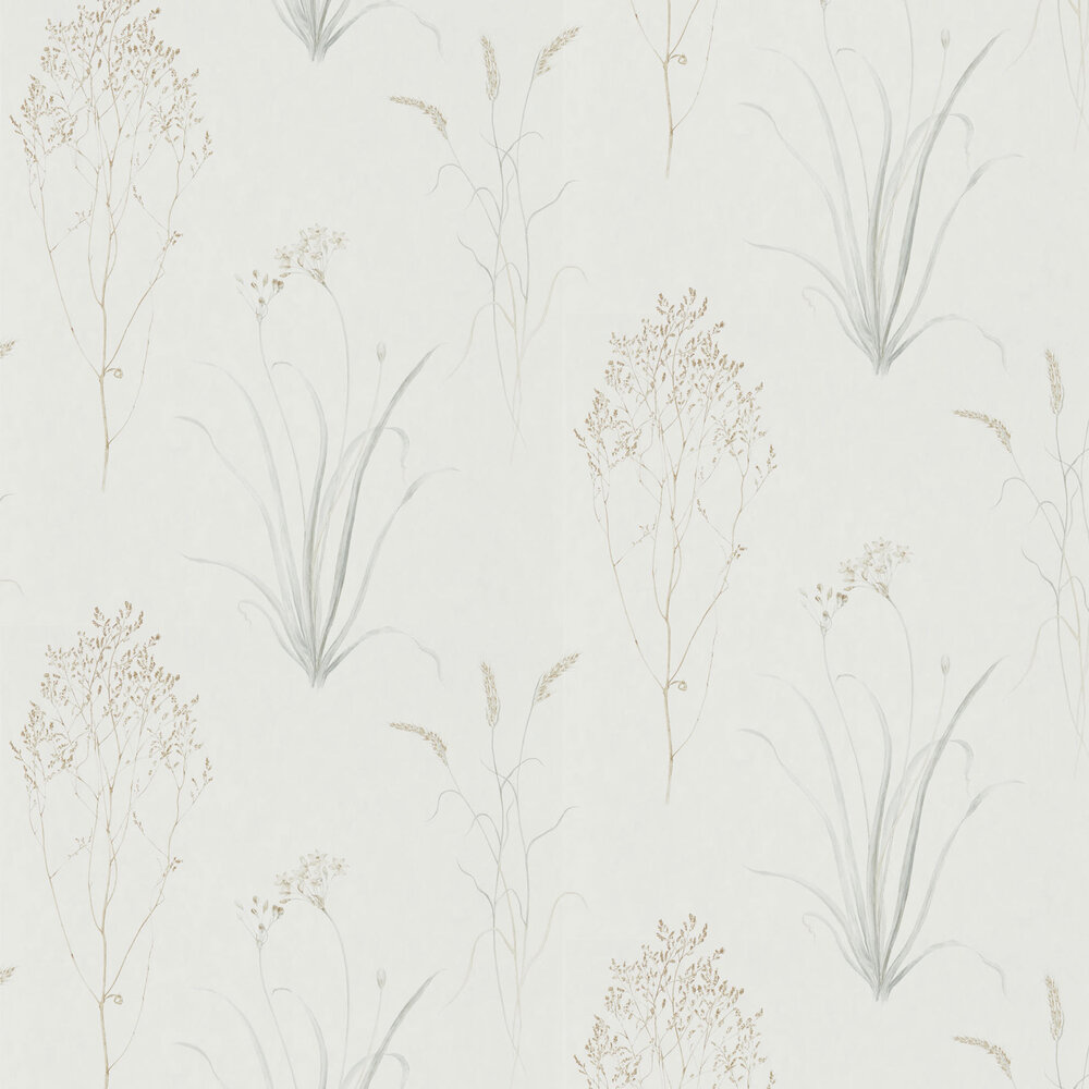 Farne Grasses Wallpaper - Silver / Ivory - by Sanderson
