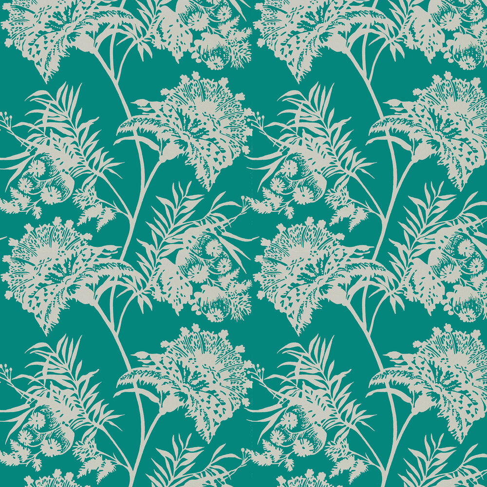 Bavero Wallpaper - Emerald - by Harlequin