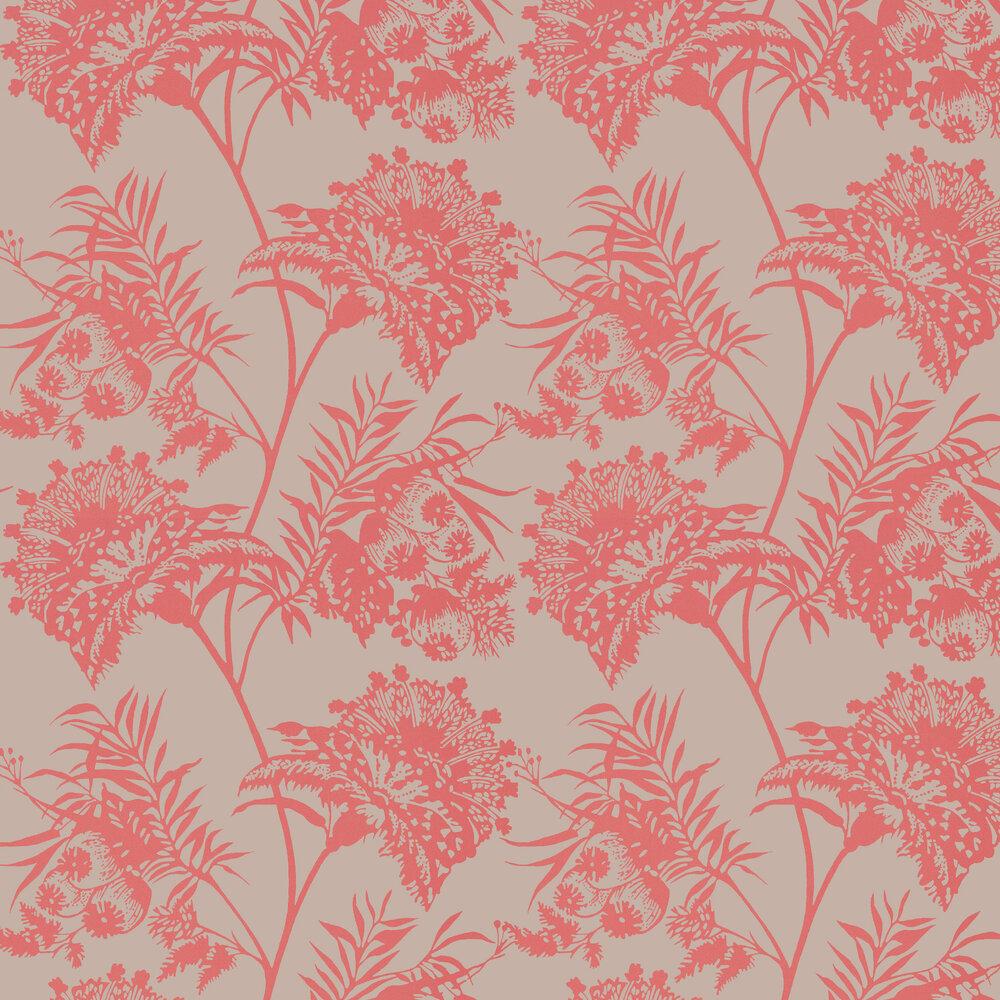 Bavero Wallpaper - Coral - by Harlequin