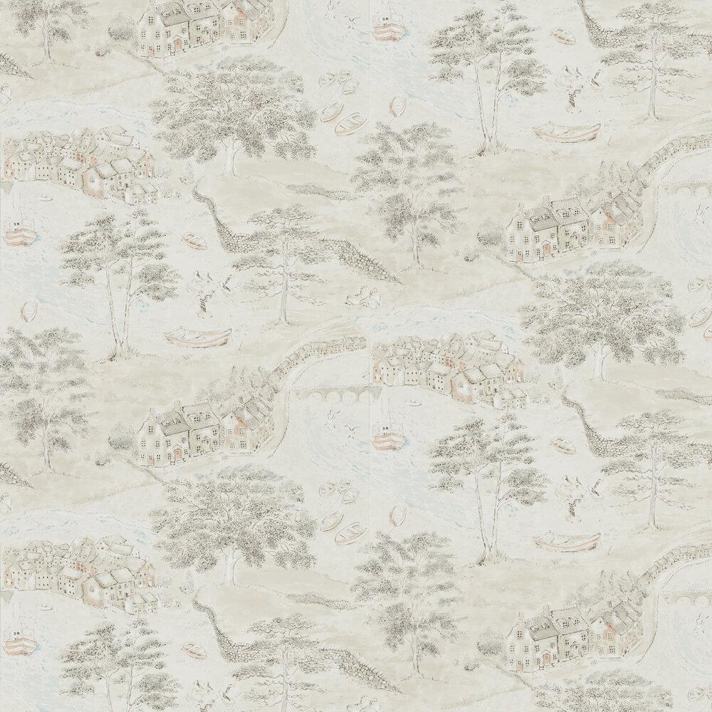 Sanderson Sea Houses Charcoal / Linen Wallpaper - Product code: 216489