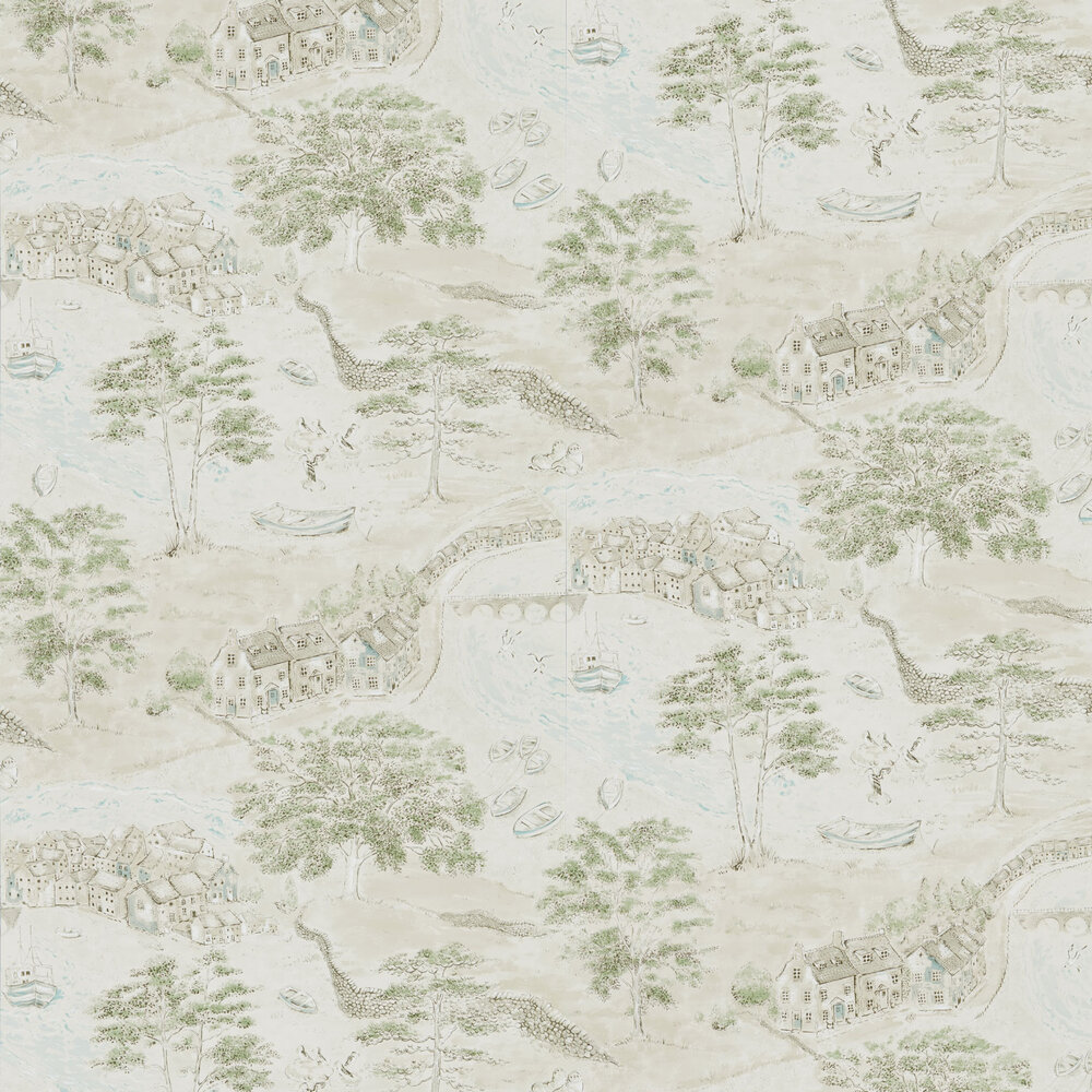 Sanderson Sea Houses Green / Sand Wallpaper - Product code: 216490