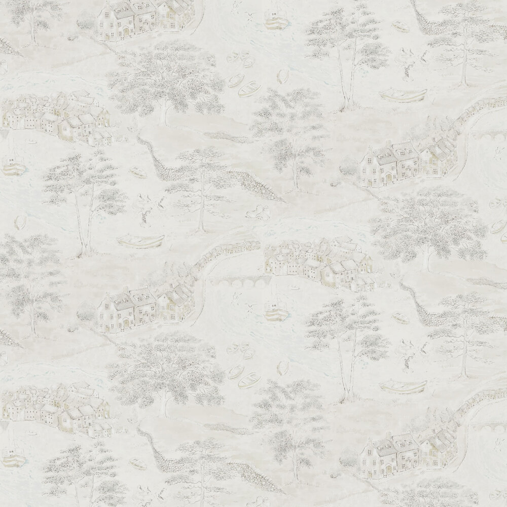 Sanderson Sea Houses Chalk / Silver Wallpaper - Product code: 216491