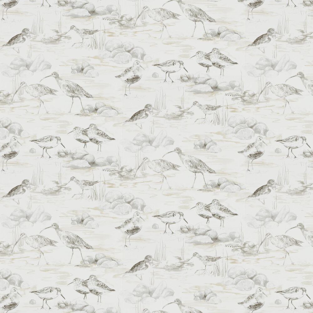 Estuary Birds Wallpaper - Chalk / Sepia - by Sanderson