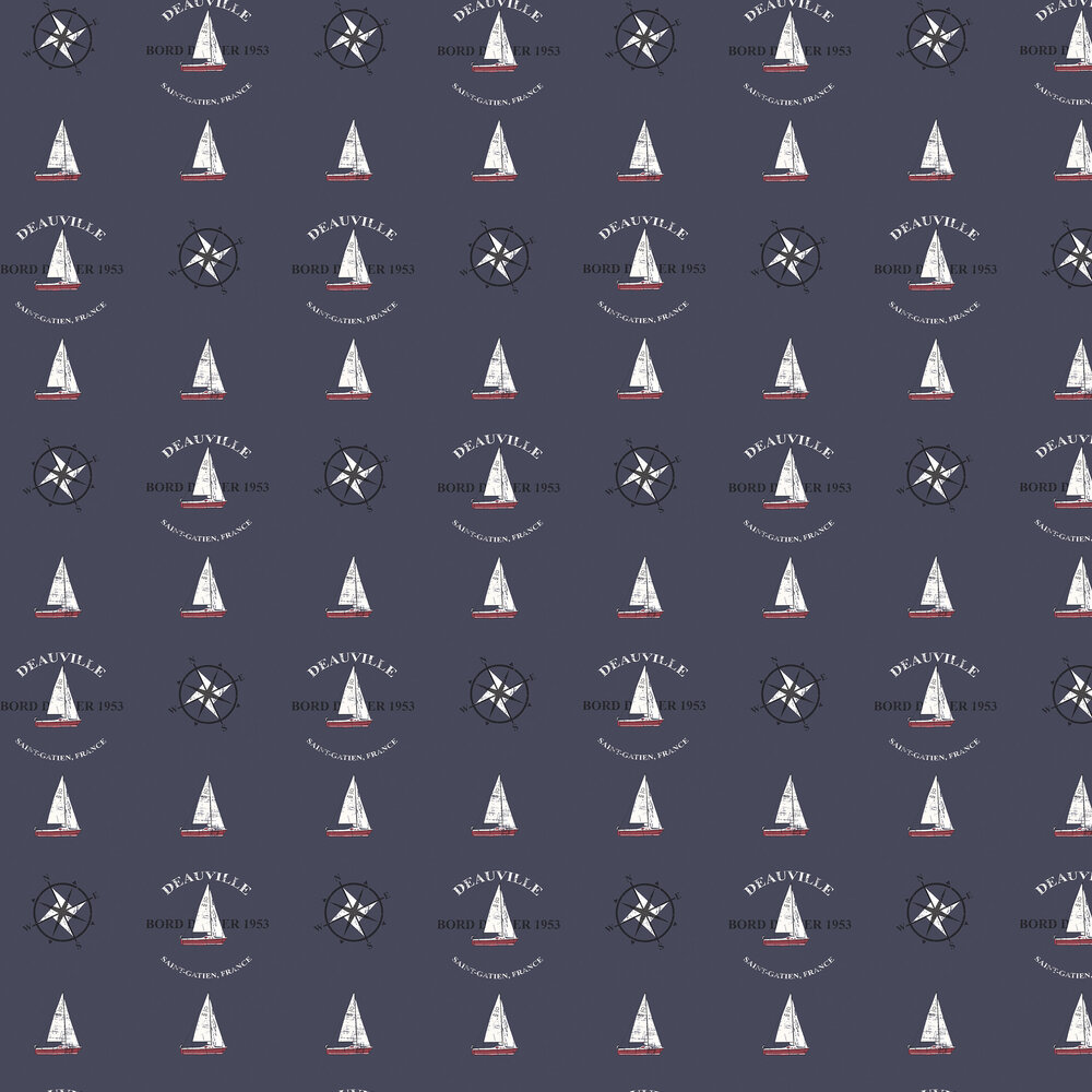 Boat and Compass Wallpaper - Navy - by Galerie