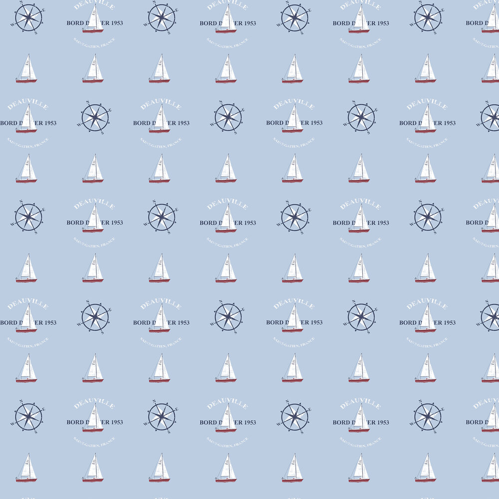 Boat and Compass Wallpaper - Sky Blue - by Galerie