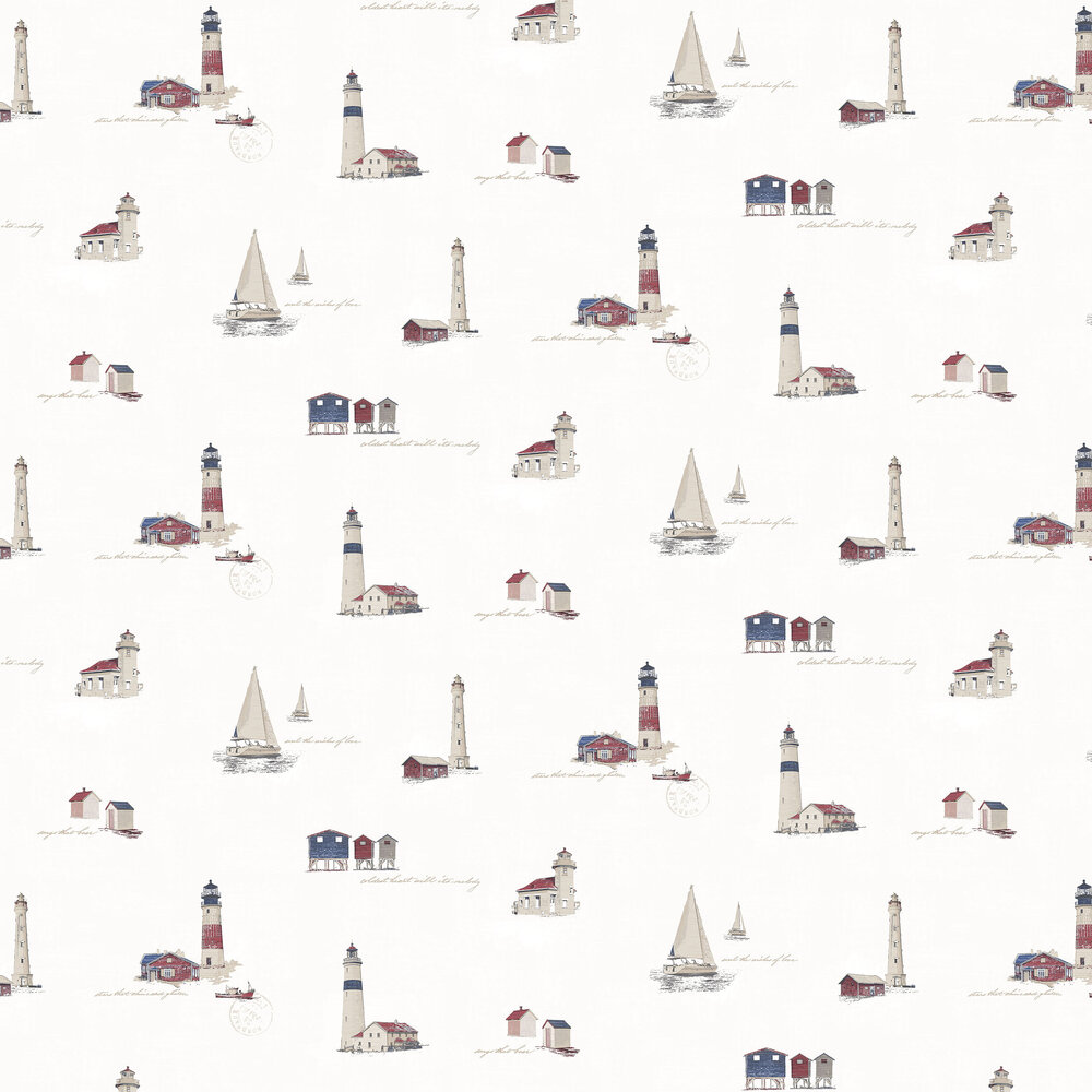 Lighthouse Wallpaper - White - by Galerie