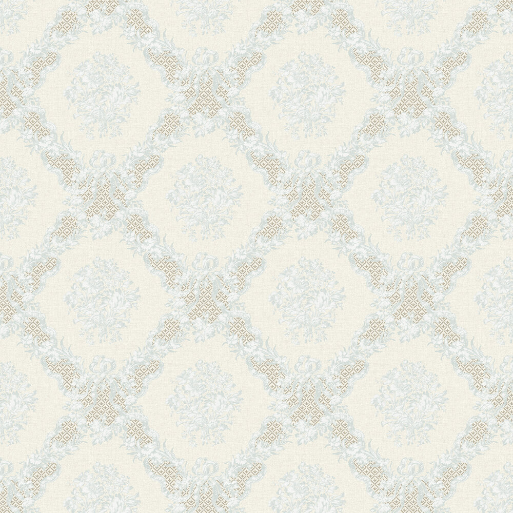 Elizabeth Ockford Rose Castle Dark Cream / Aqua Wallpaper - Product code: WP0111103