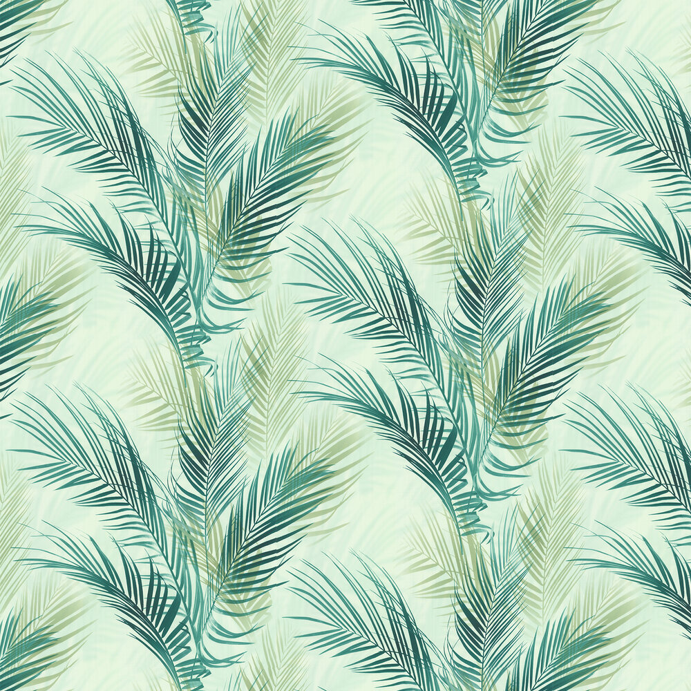 Bamboo Palm Wallpaper - Blue Green - by Albany