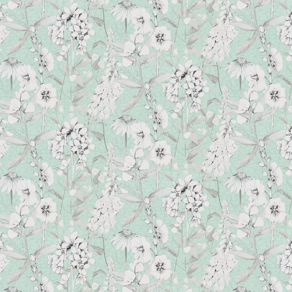 Emilie Wallpaper - Aqua - by Designers Guild
