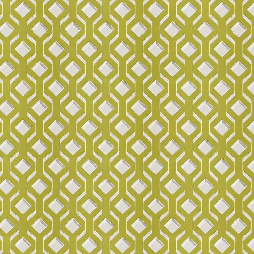 Chareau Flock Wallpaper - Chartreuse - by Designers Guild