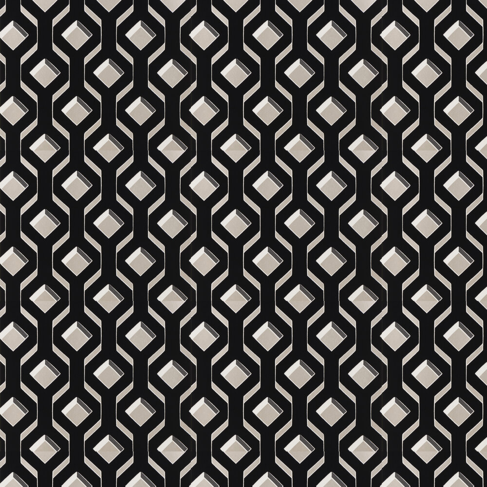 Chareau Flock Wallpaper - Noir - by Designers Guild
