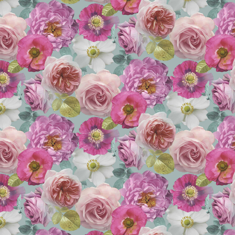 Country Garden Wallpaper - Teal - by Arthouse