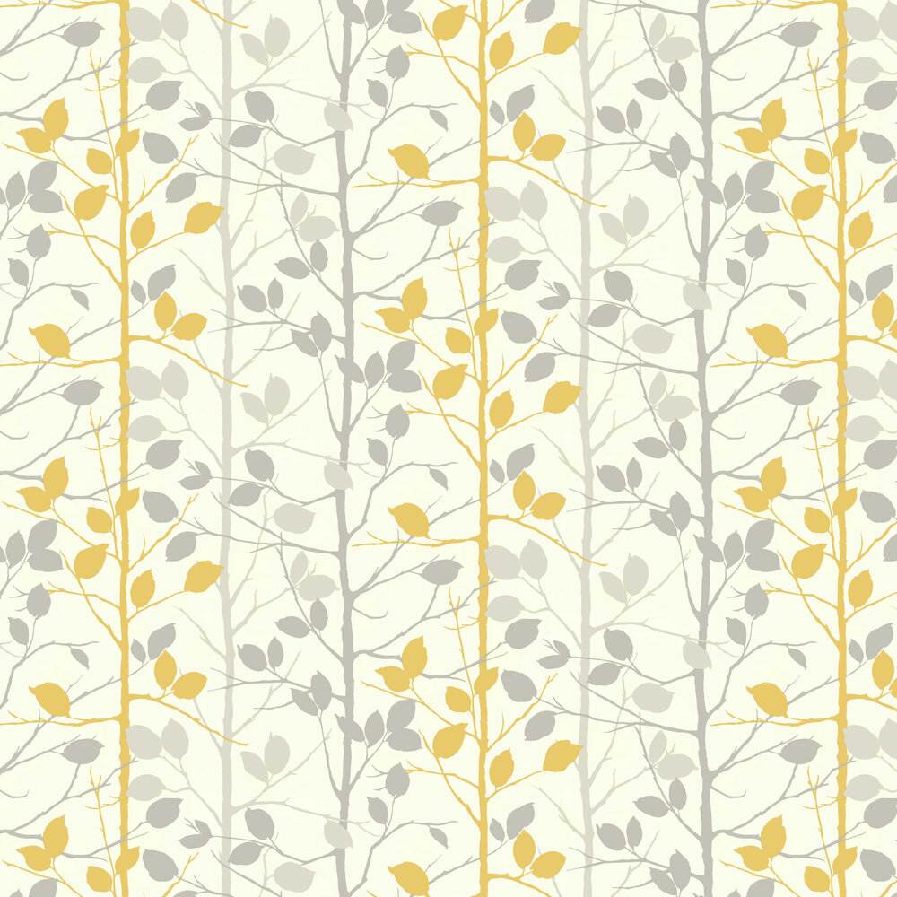 Woodland Wallpaper - Grey / Yellow - by Arthouse