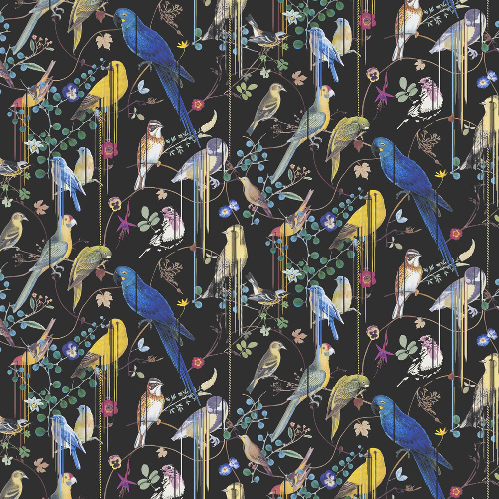Birds Sinfonia Wallpaper - Black - by Christian Lacroix