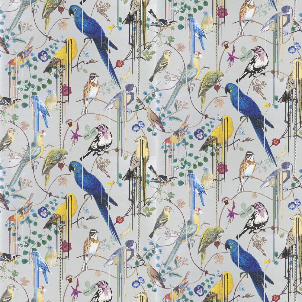 Birds Sinfonia Wallpaper - Metallic Silver - by Christian Lacroix