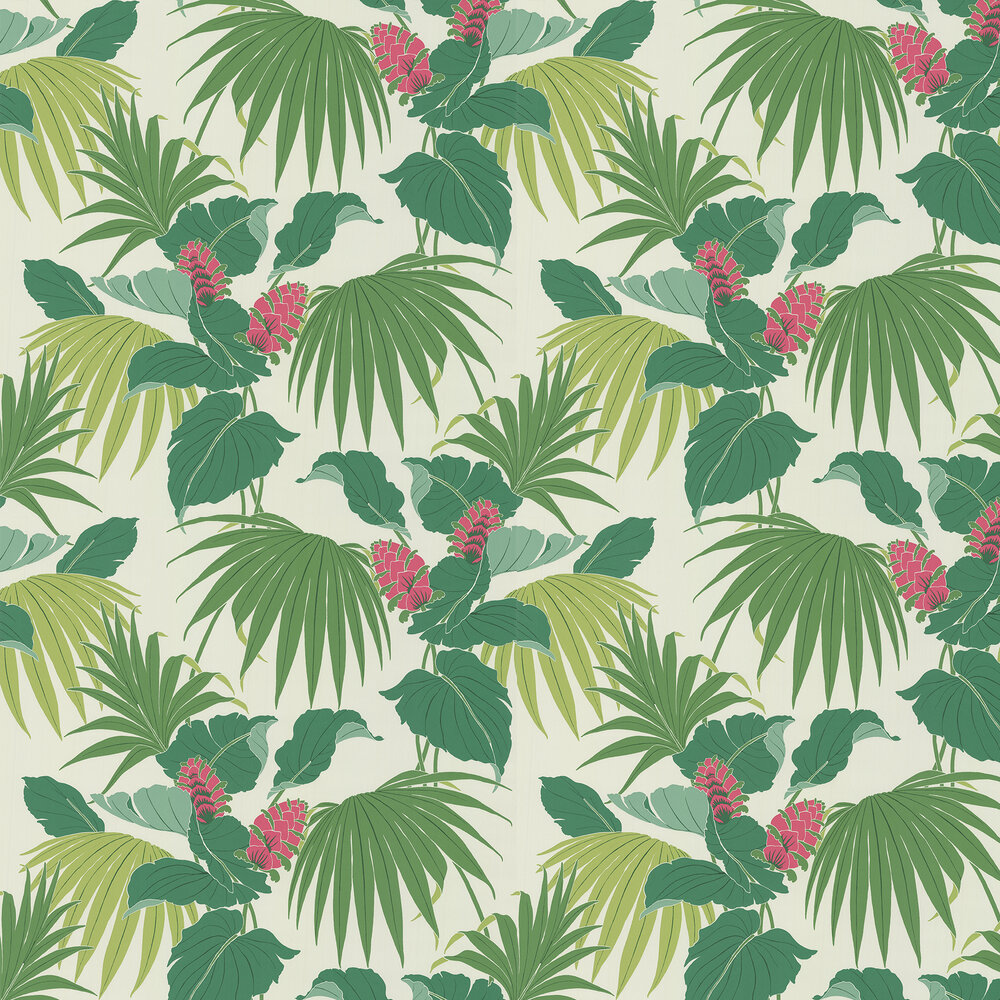 Vernazza Wallpaper - Green / Pink - by Osborne & Little