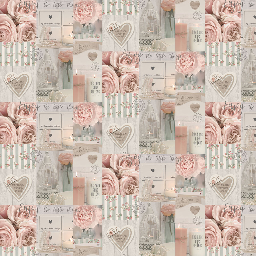 Diamond Rose Wallpaper - Blush - by Arthouse