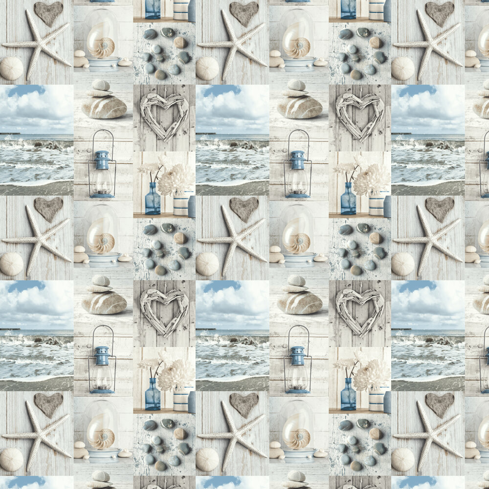 Maritime Collage Wallpaper - Blue / Grey - by Arthouse