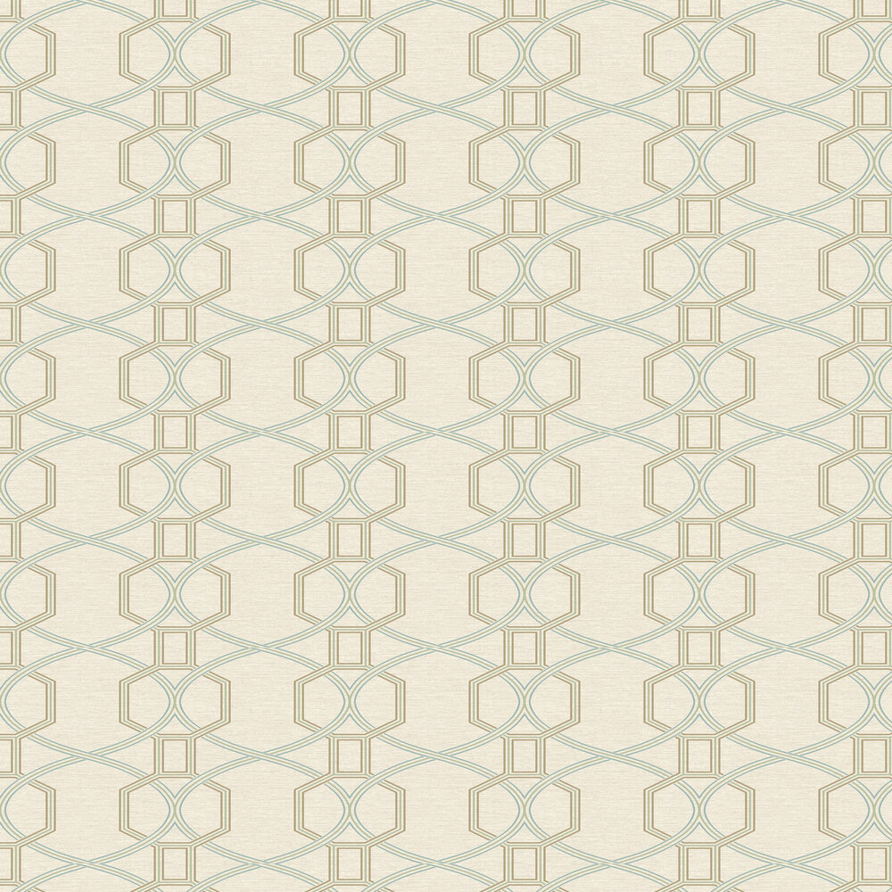 Coleton Wallpaper - Aqua and Linen - by Elizabeth Ockford