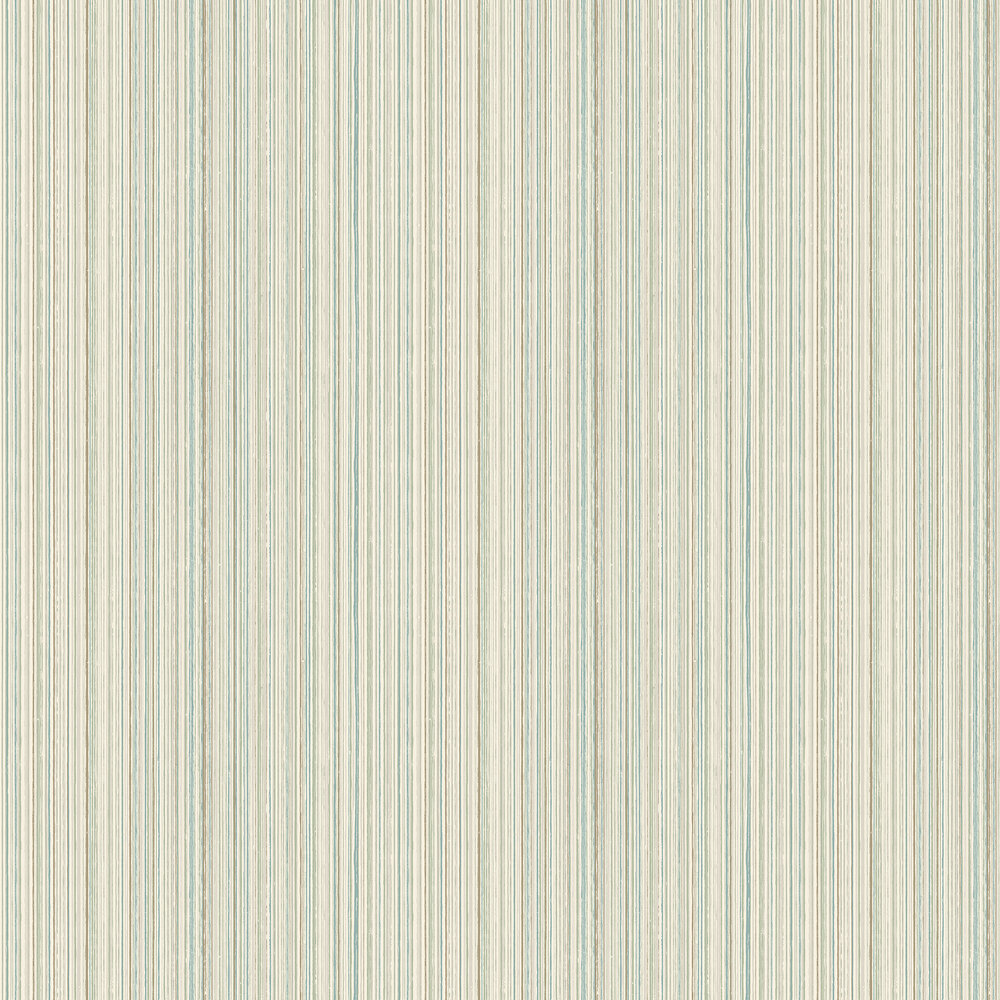 Milne Stripe Wallpaper - Aqua and Linen - by Elizabeth Ockford