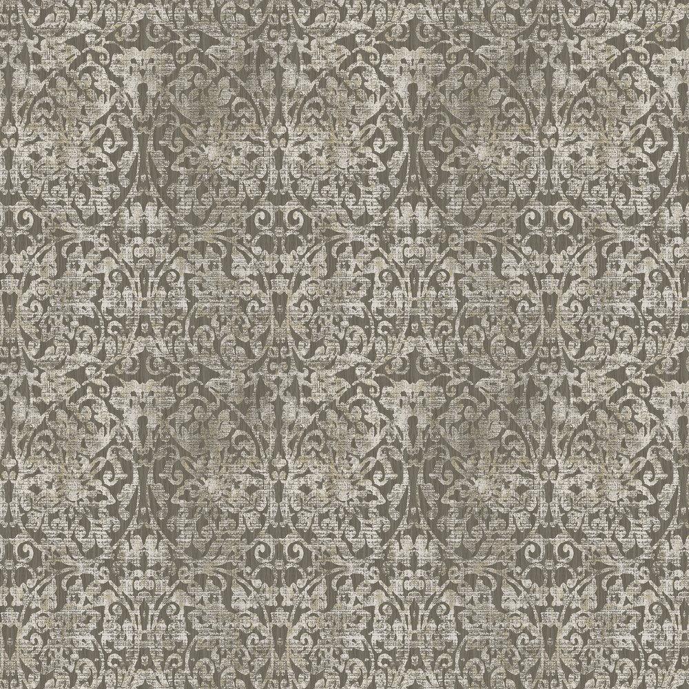 Hurst Damask Wallpaper - Dark Chocolate - by Elizabeth Ockford