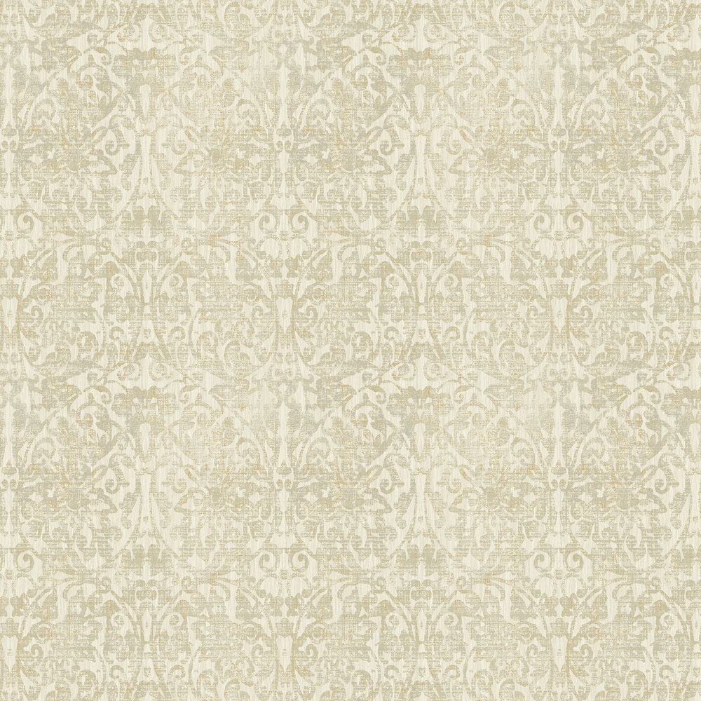 Hurst Damask  Wallpaper - Cream - by Elizabeth Ockford