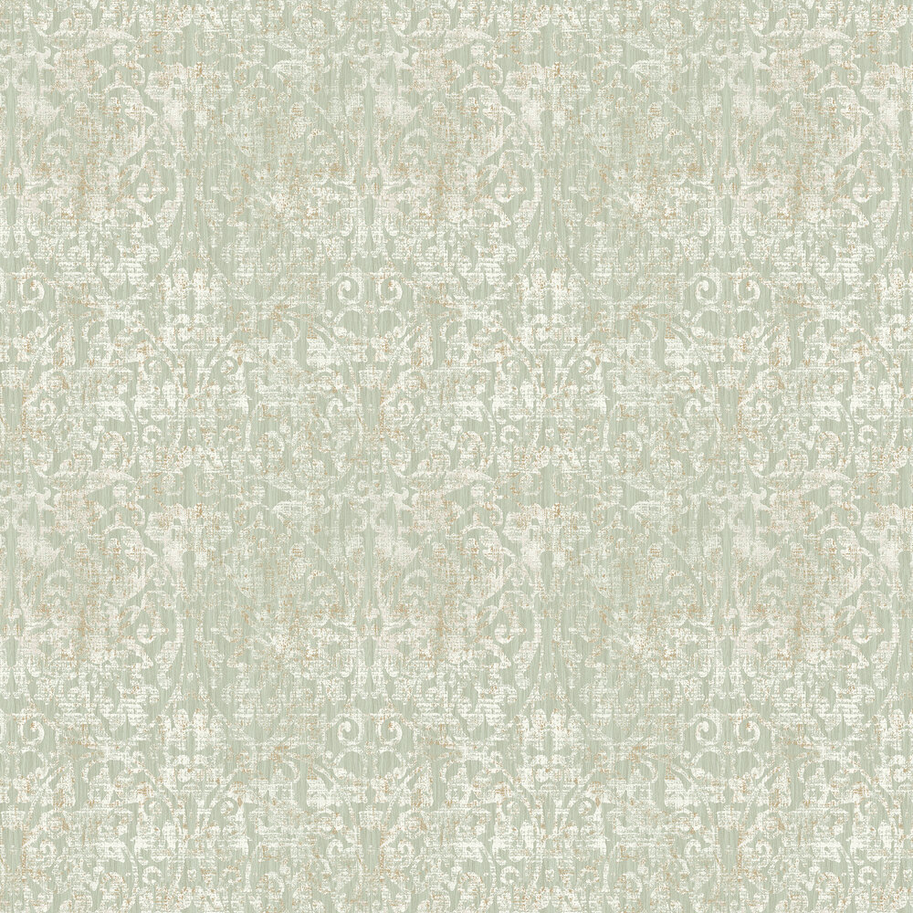 Hurst Damask Wallpaper - Sage - by Elizabeth Ockford