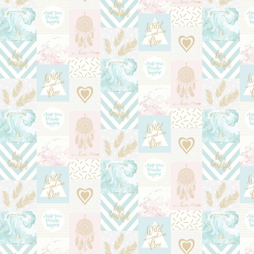 Wild and Free Wallpaper - Blue/Pink - by Albany