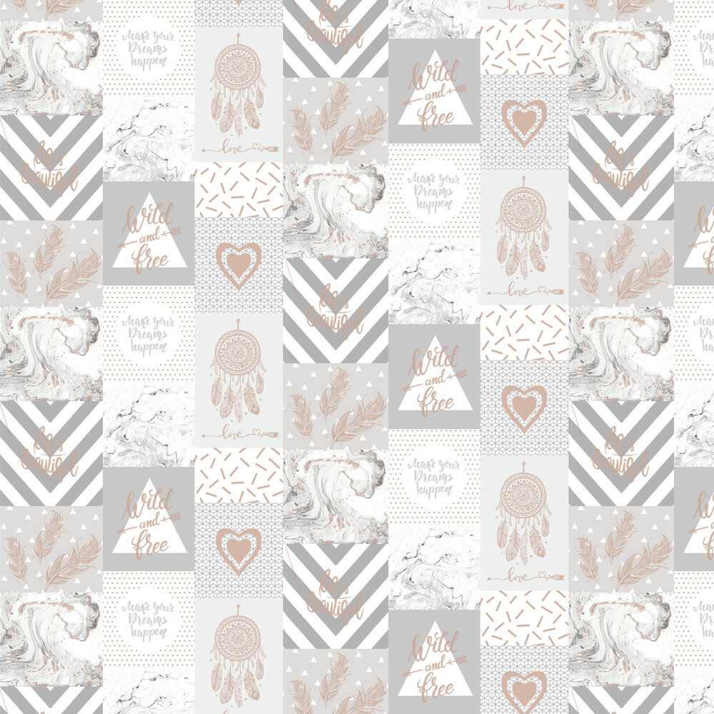 Wild and Free Wallpaper - Grey/ Rose Gold - by Albany