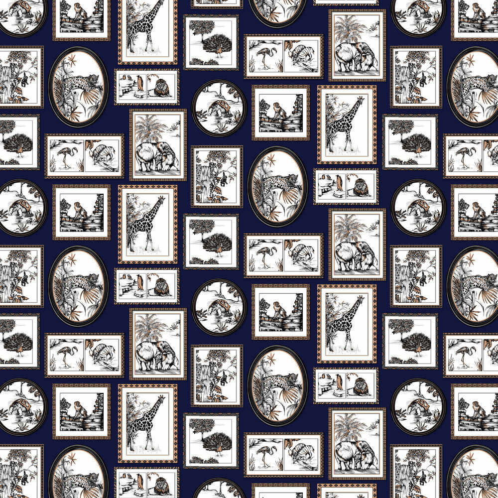 Savanah Gallery Wallpaper - Navy - by Albany