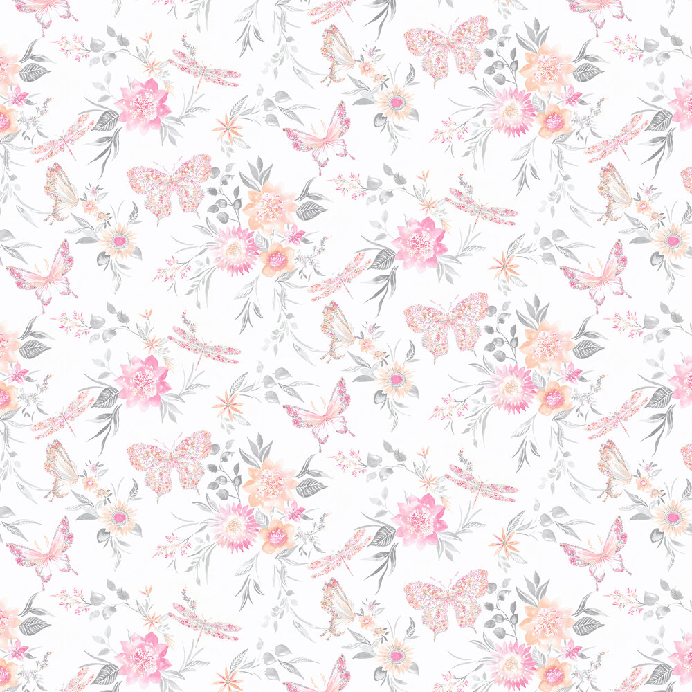 Botanical Butterfly Wallpaper - Coral - by Albany