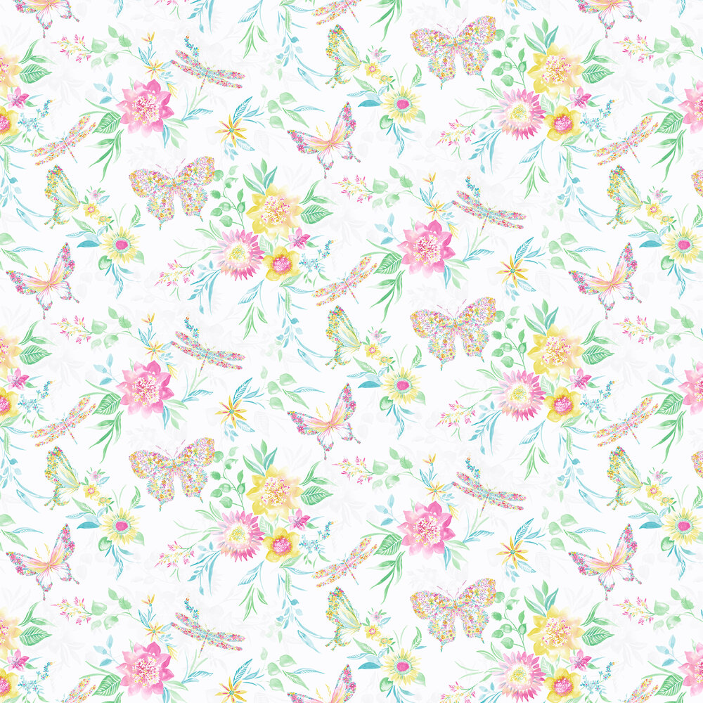 Botanical Butterfly Wallpaper - Multi - by Albany